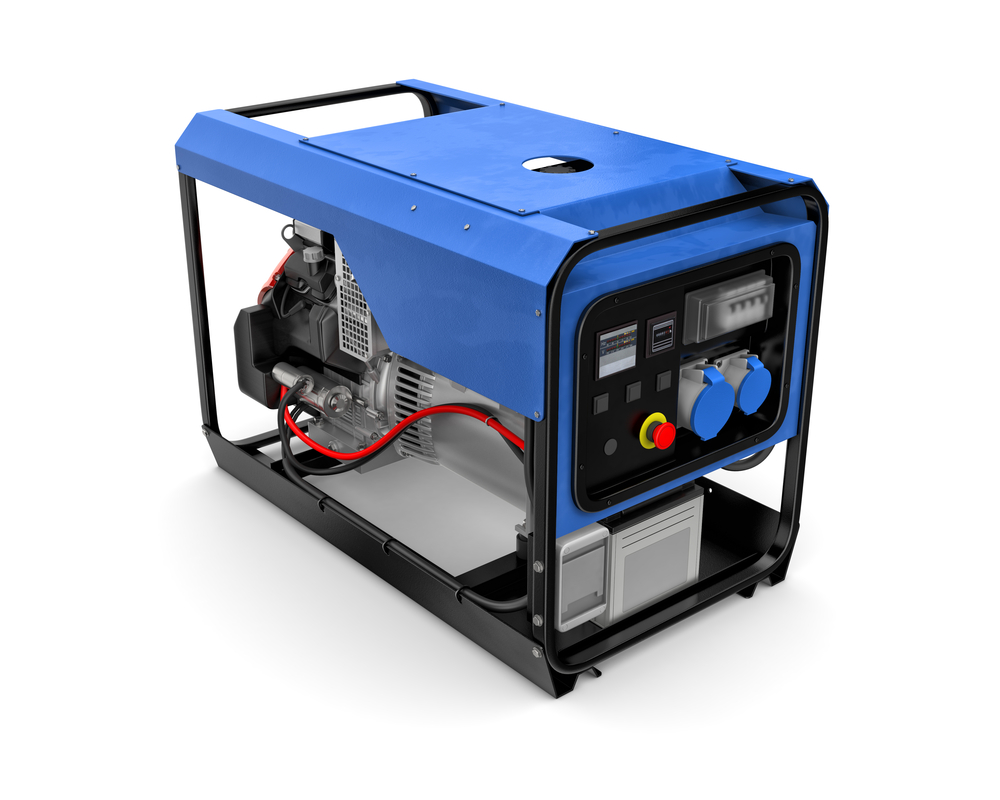 Blue generator on white background