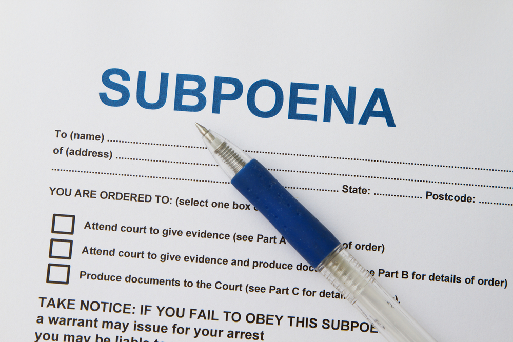 Legal subpoena