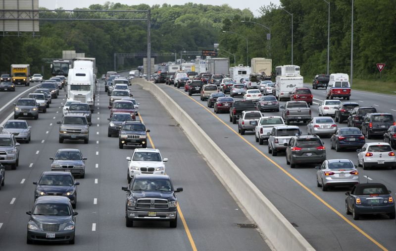 Traffic moves on the Interstate 495, the Capital Beltway, in Hyattsville, Md., outside Washington.