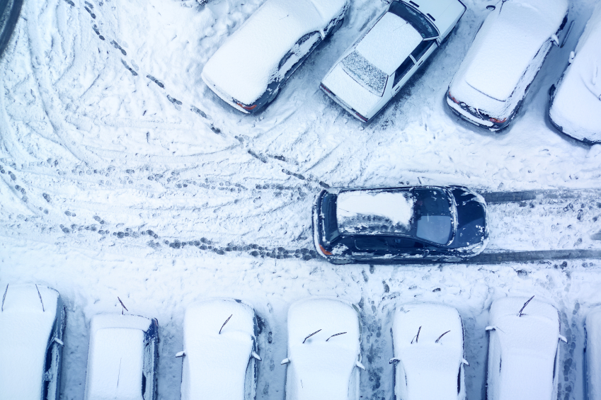 Snow-covered parking lot