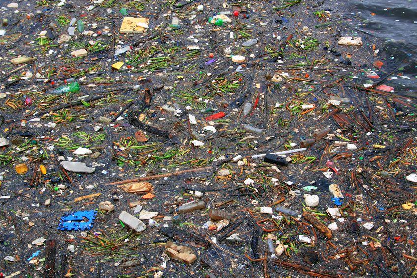 plastic floating in ocean