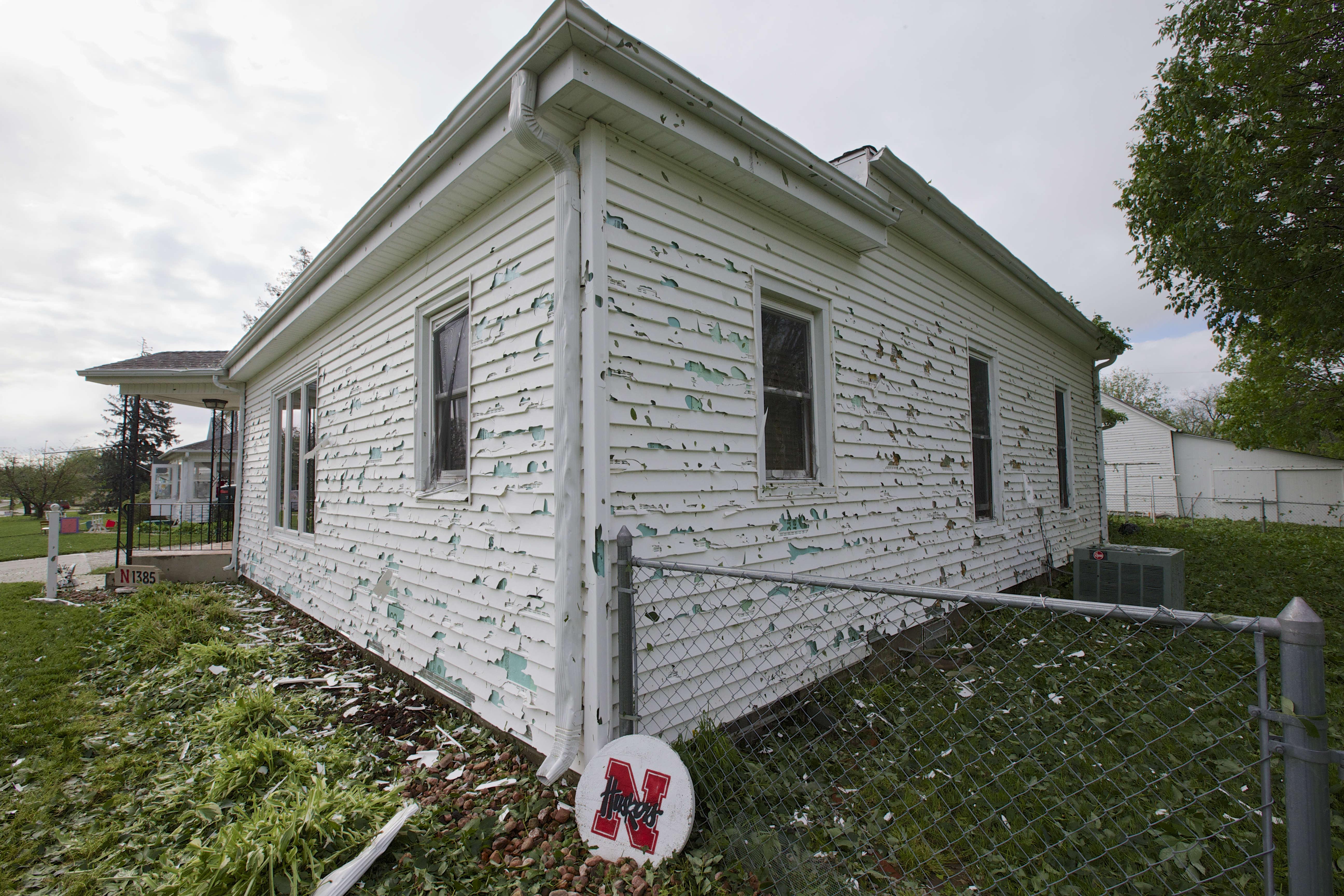 Hail damage to house in Nebraska