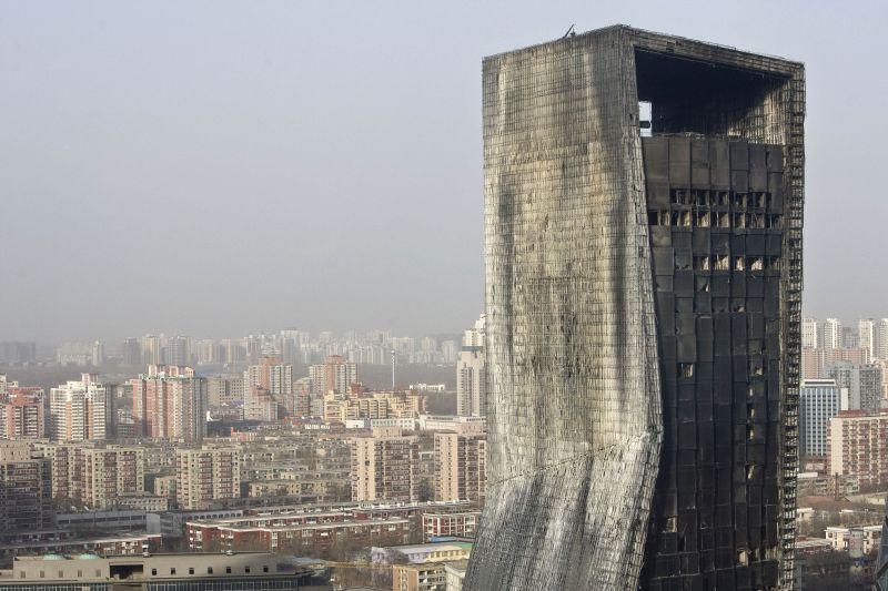 Part of fire damaged Mandarin Oriental hotel building