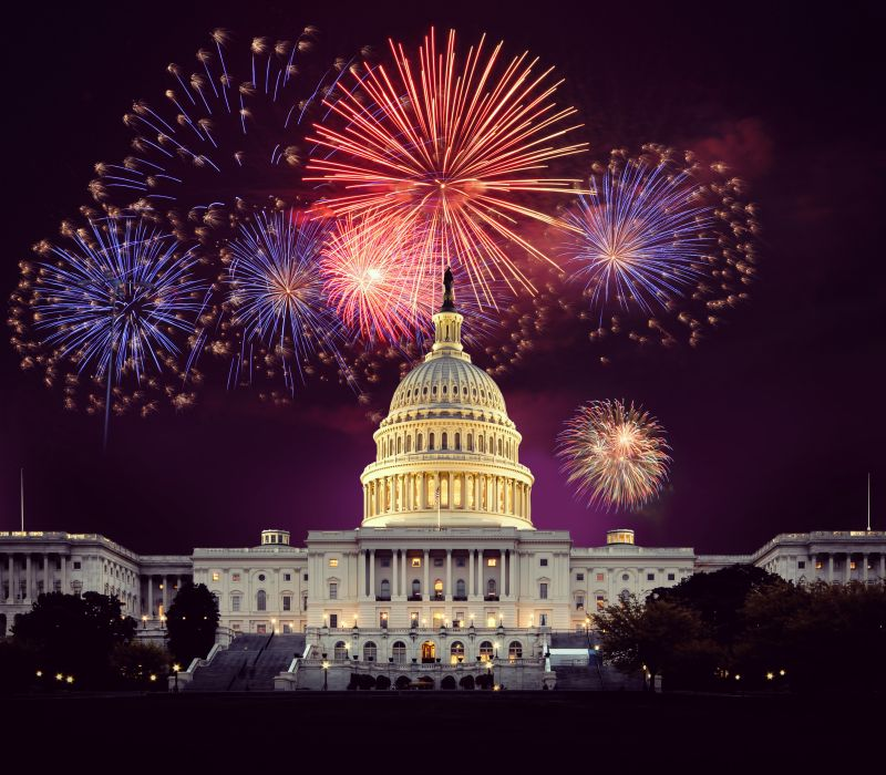 Fireworks explode over the U.S. Capital