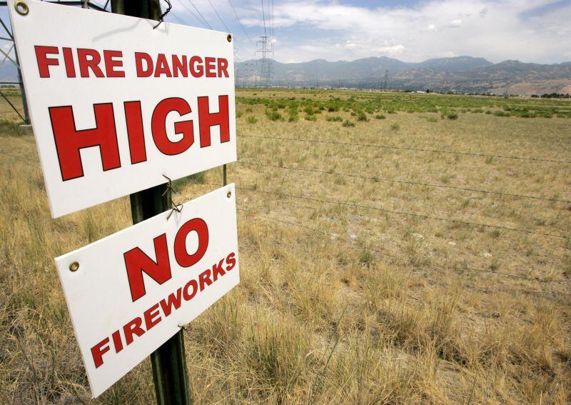 Fire Danger High, No Fireworks sign