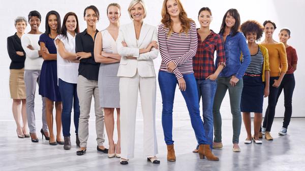 diverse women standing is a line