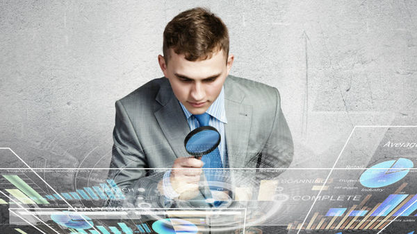 Man examining data