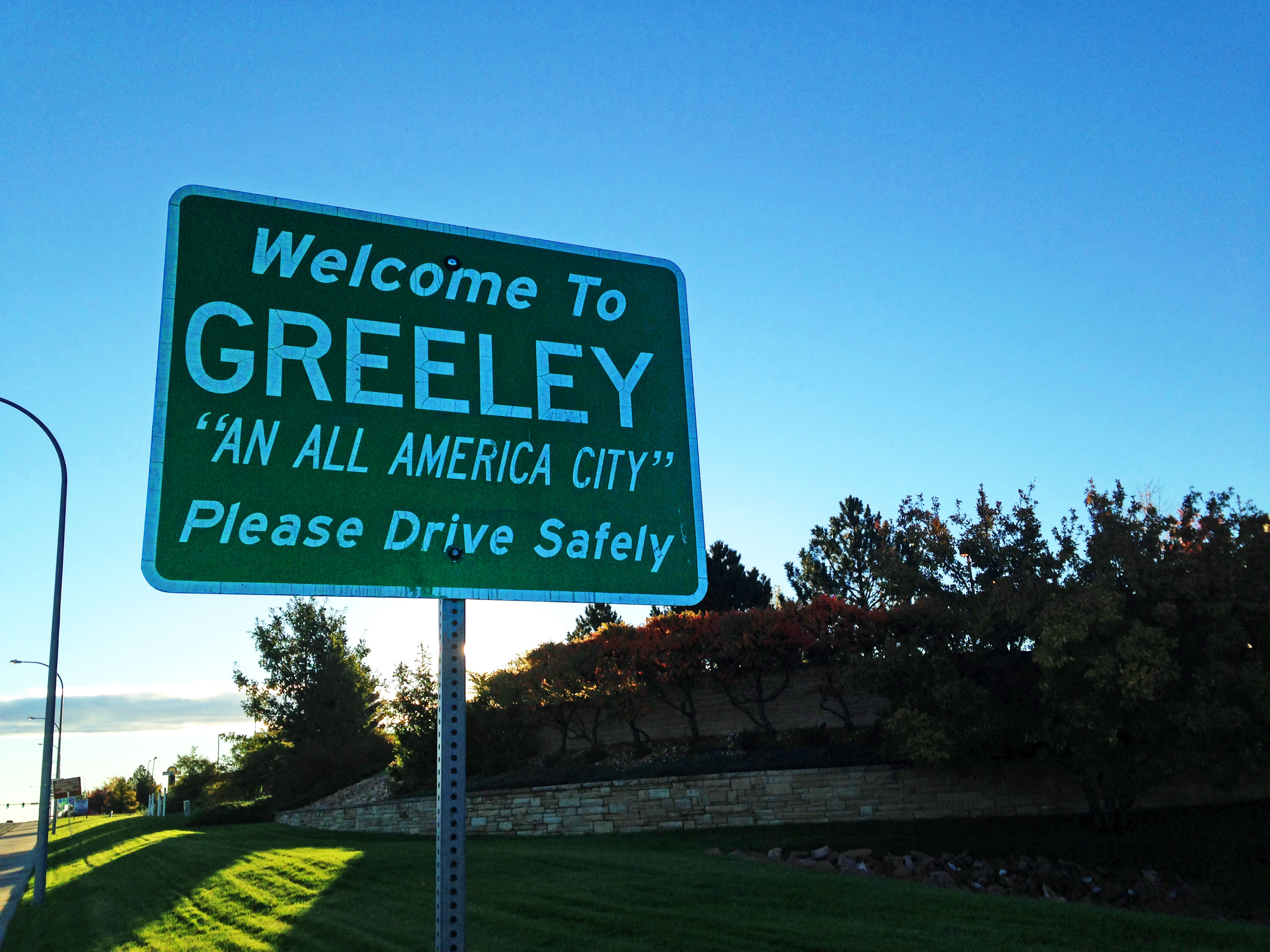 Welcome sign on 10th Street and 59th Avenue in Greeley, Colorado