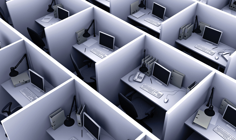 Aerial view of office cubicles
