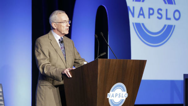 Gil Hine, outgoing president of NAPSLO, addresses the E&S market with NU/PC360. (Photo: NAPSLO)