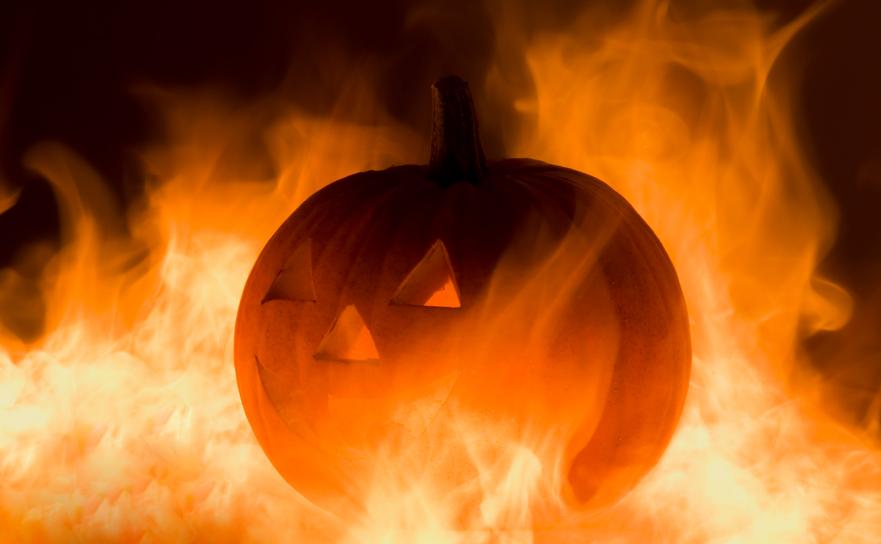 Burning jack-o-lantern