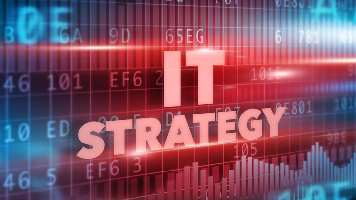 IT strategy in red letters on dark background