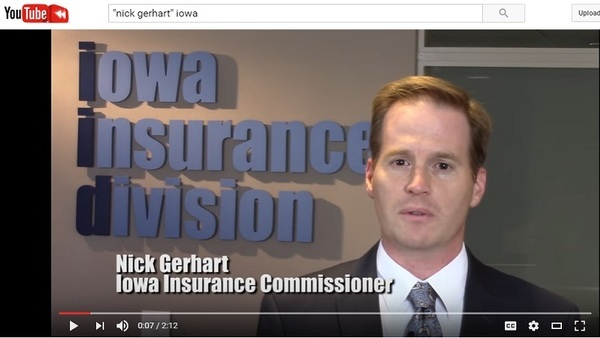 Nick Gerhart, Iowa's insurance commissioner, was the first state insurance regulator to face the collapse of an Affordable Care Act CO-OP carrier. (Image: Iowa Insurance Division/YouTube)