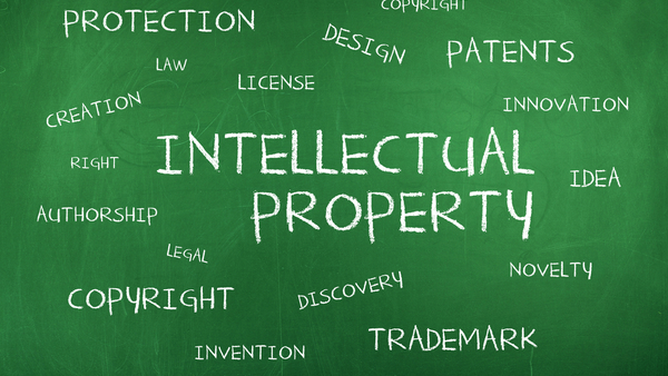 intellectual property terms on green chalk board