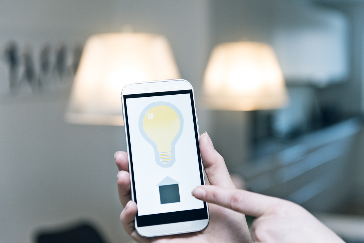 smart lighting is controlled from a cell phone