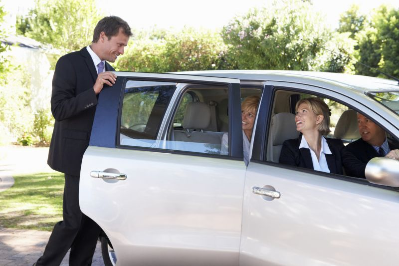 business professionals carpooling
