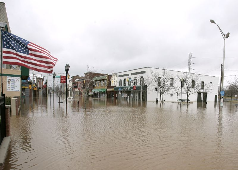 Flooding on Main Street in Bound Brook, N.J.