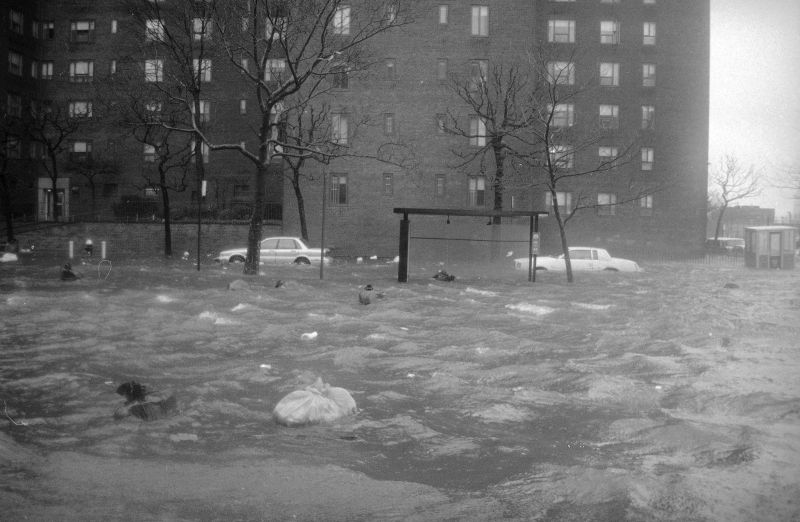 winter storm sent the waters of the East River surging into the NYC streets, Dec. 11, 1992