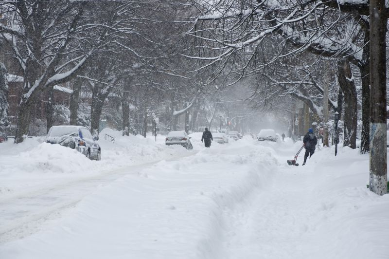 street covered by deep snow