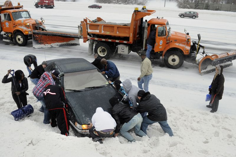 push car out of snow bank