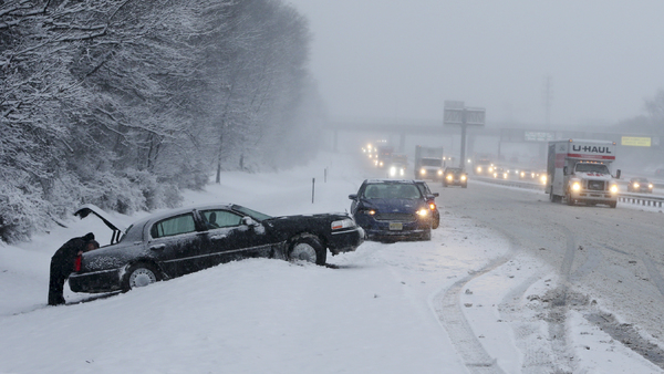 The majority of auto accidents -- and auto insurance claims -- in winter are related to skidding on ice or snow, as these cars, stuck in a snowstorm on the New Jersey Turnpike Jan. 7, 2017, demonstrate. (Photo: AP/Mel Evans)