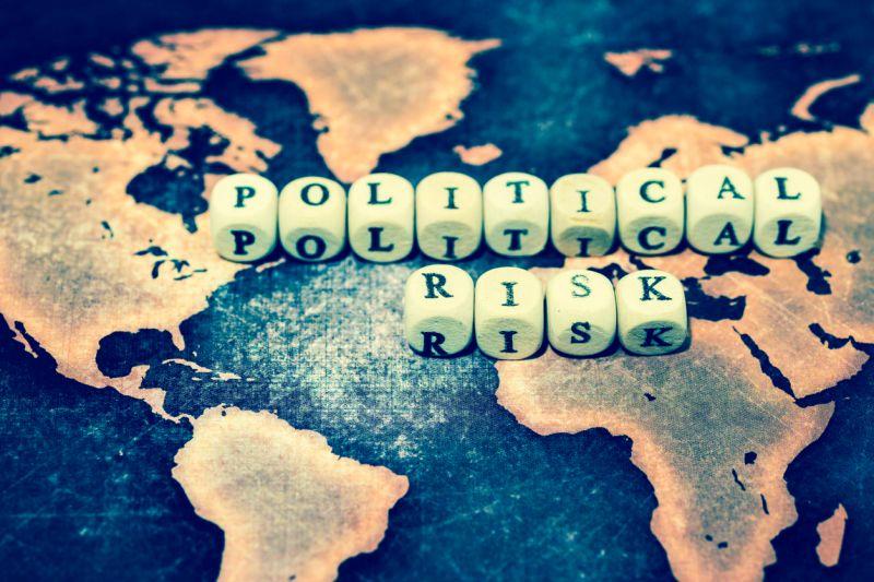political risk written across global map