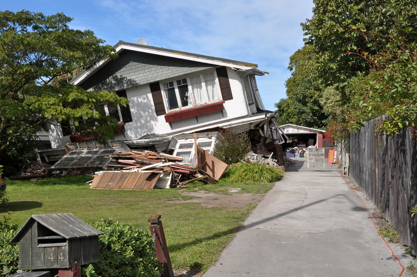 home damaged by an earthquake