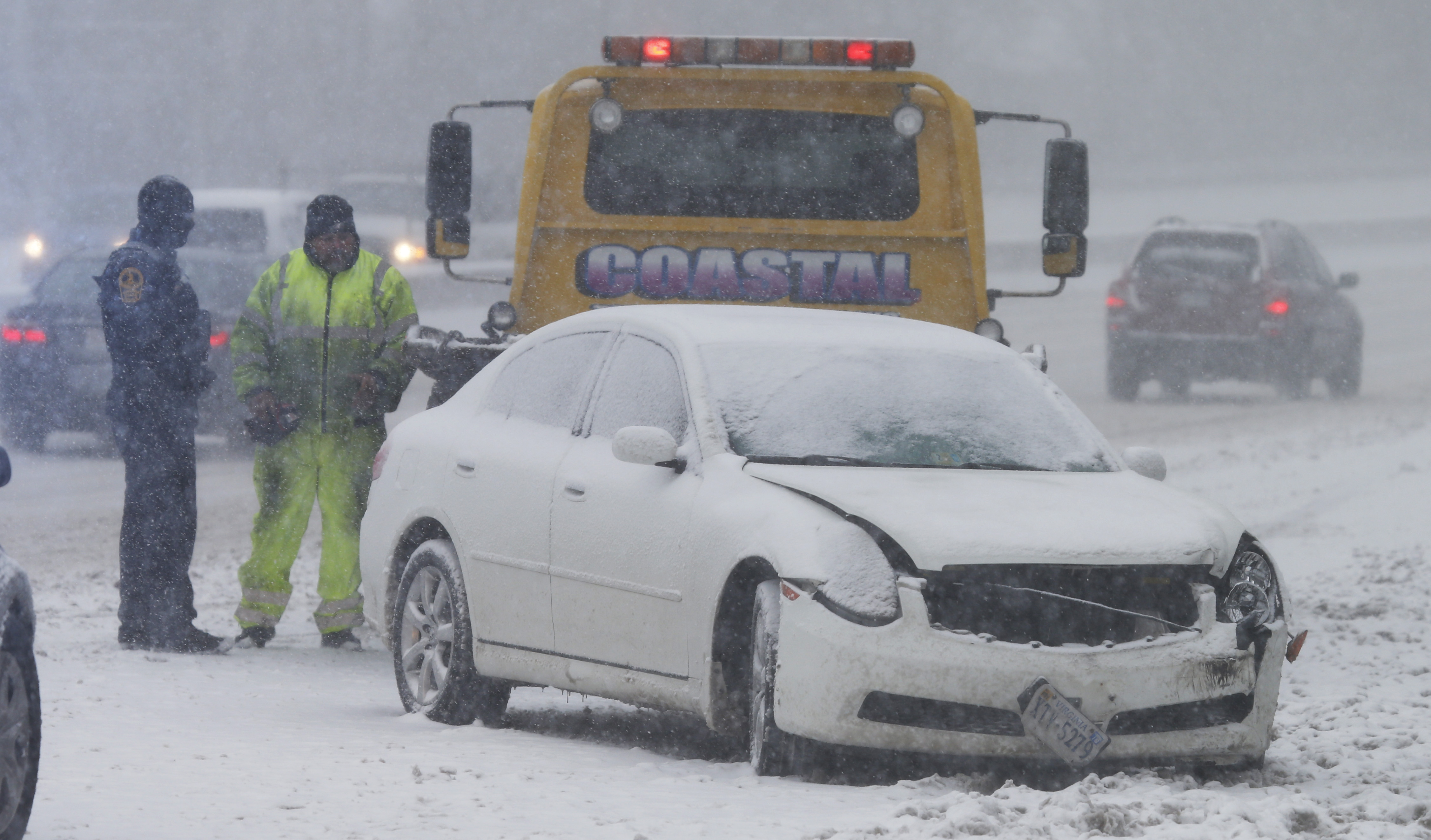 Car accident in blizzard