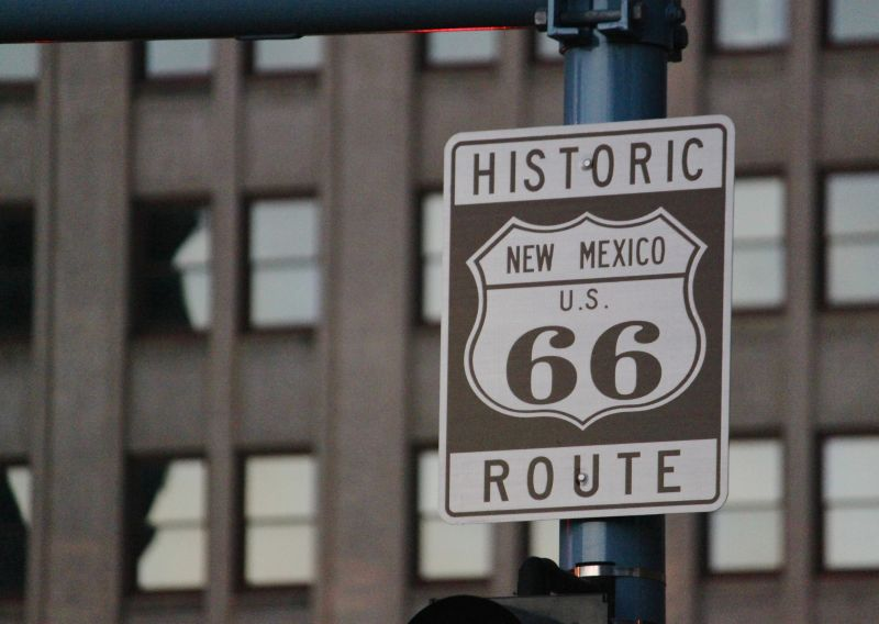 one of the signs along historic Route 66 in downtown Albuquerque, N.M.