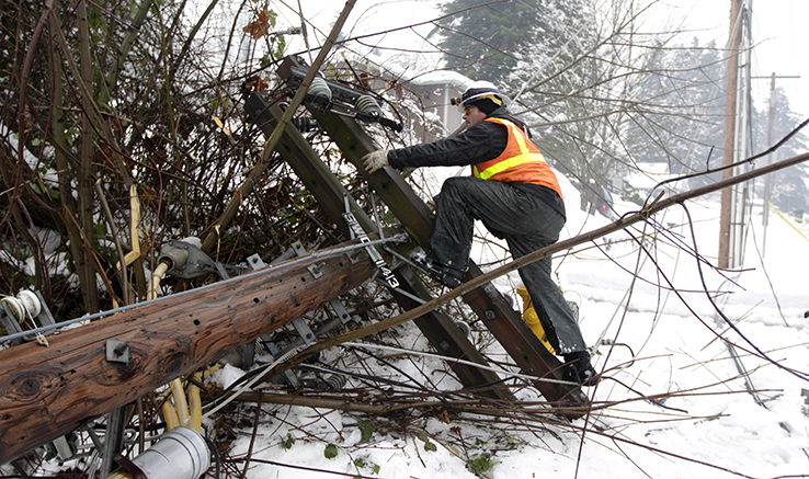 Man climbing up downed power pole