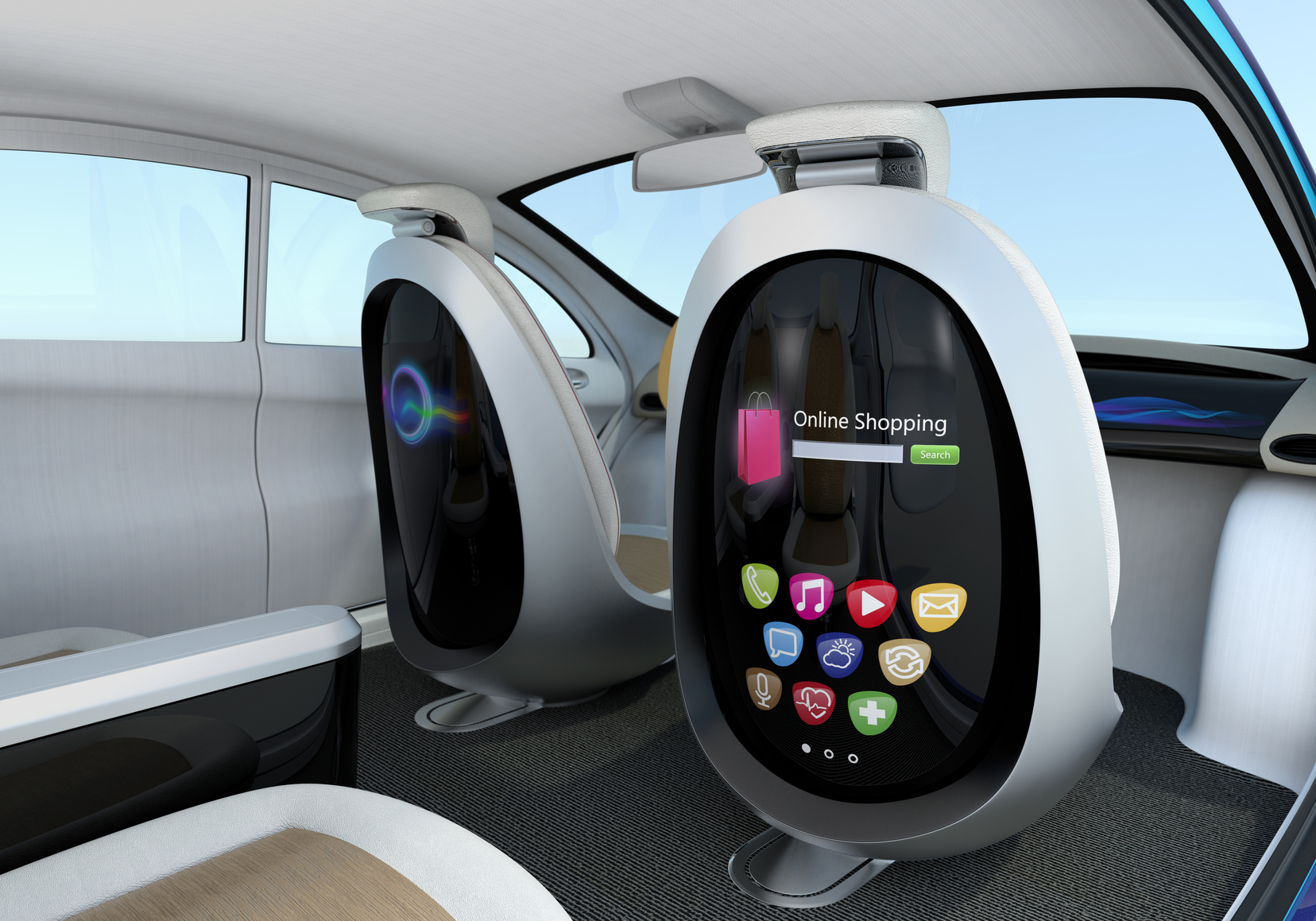 inside of an autonomous car