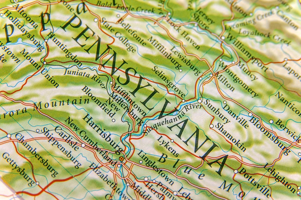 Map of Hamburg PA