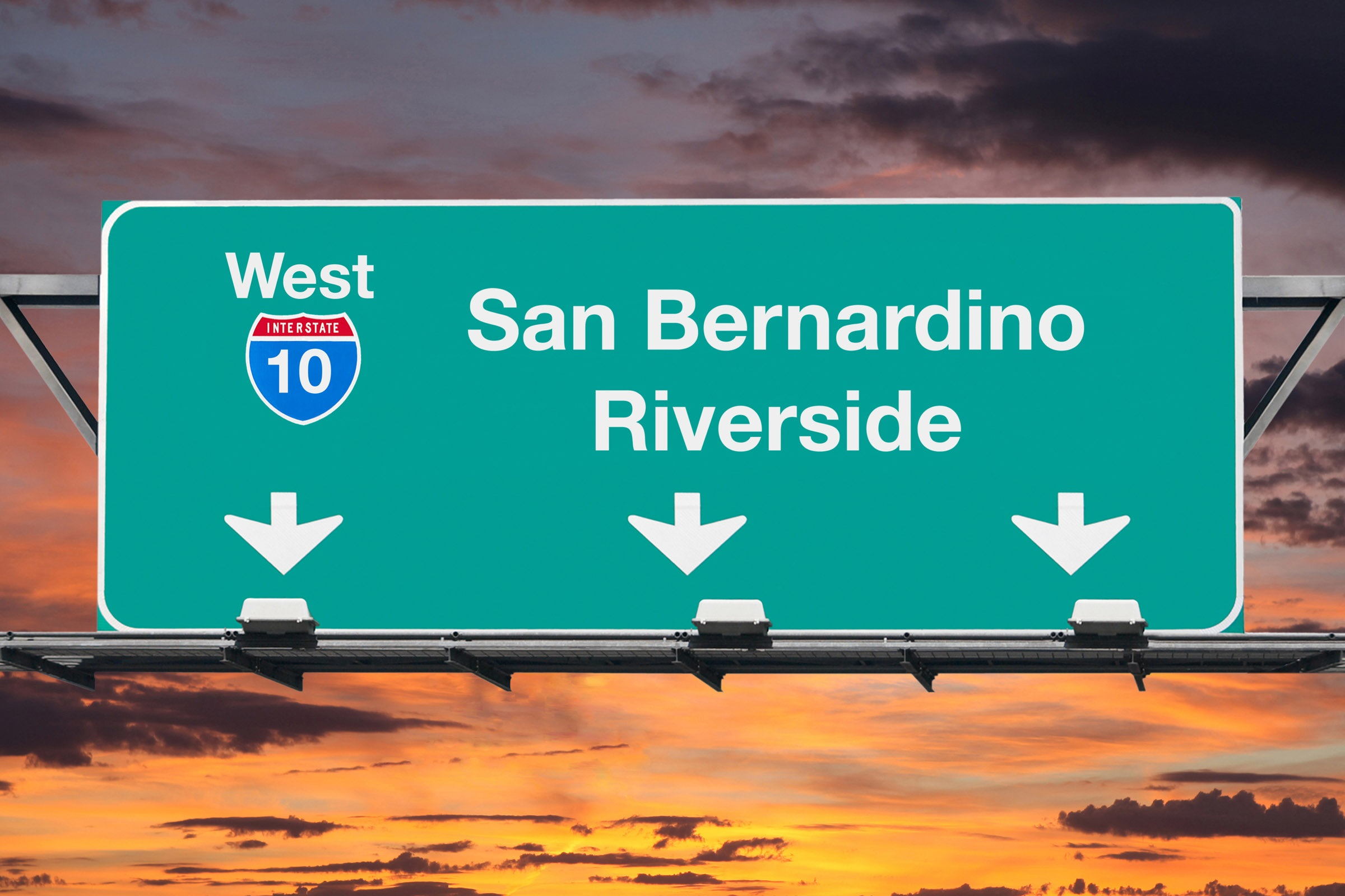 San Bernardino CA road sign at sunset