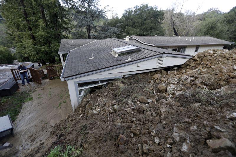 A mudslide damaged home in Orinda, Calif