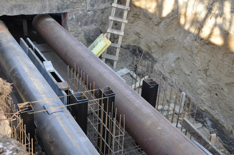 City water pipes under construction