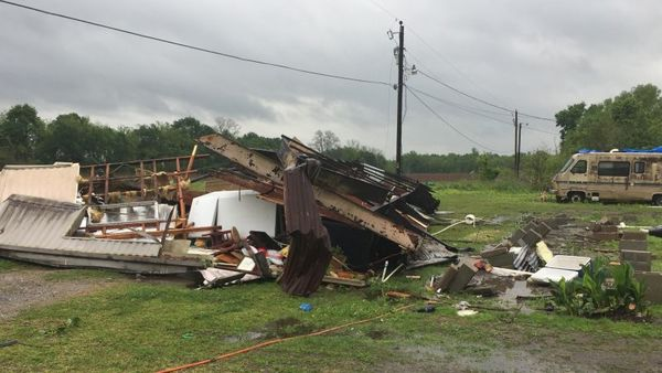 A tornado flipped a Breaux Bridge, La., mobile home on April 2, 2017, killing the mother and her daughter as a storm system with hurricane-force winds crawled across the Deep South, damaging homes and businesses. (Maj. Ginny Higgins/St. Martin Parish Sheriff's Office via AP)