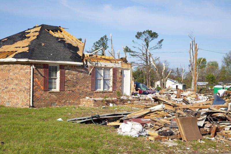 tornado damaged brick house
