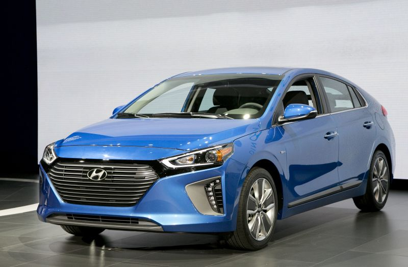 The 2017 Hyundai Ioniq hybrid vehicle is shown at the New York International Auto Show