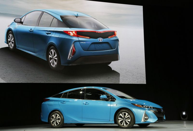The 2017 Toyota Prius Prime is shown at the New York International Auto Show