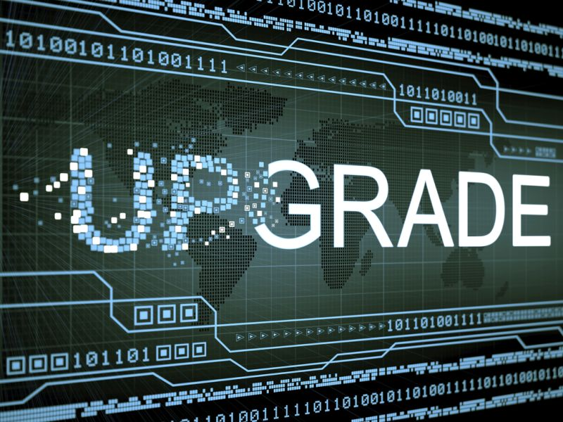 upgrade graphic on computer screen