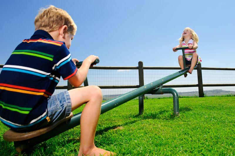 Kids on a backyard seesaw