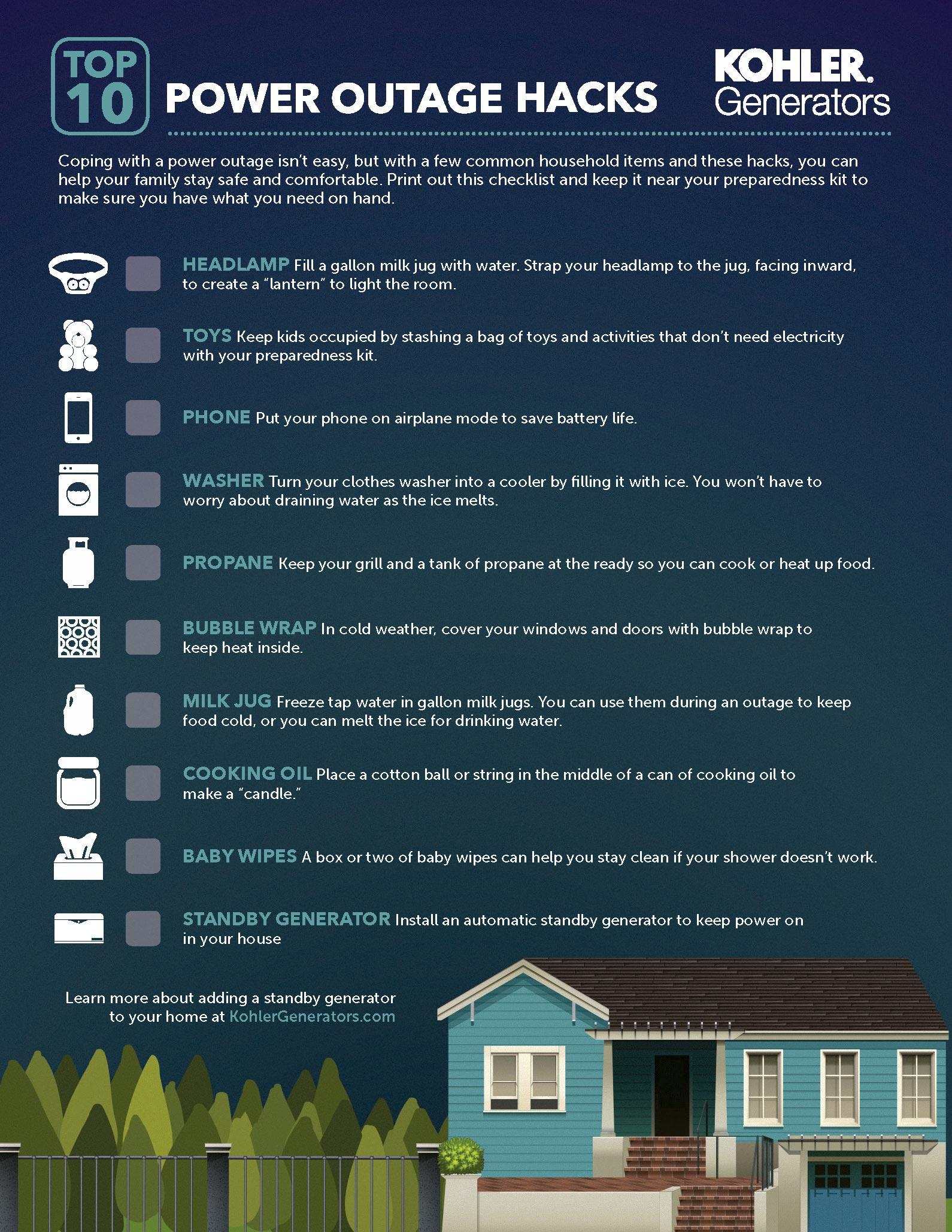 Top 10 Power Outage Hacks by Kohler Generators