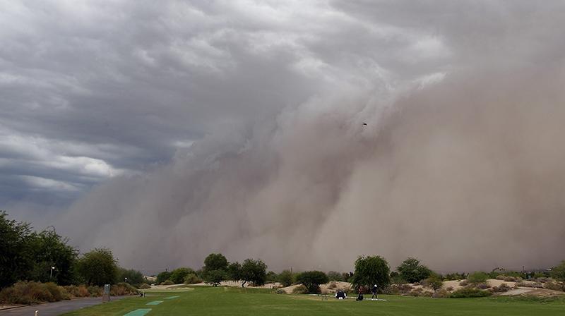 Sand storm along interstate 10 in Arizona