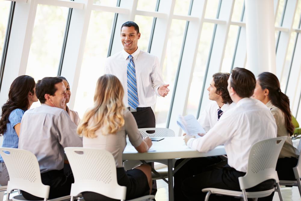 team meeting of insurance adjusters