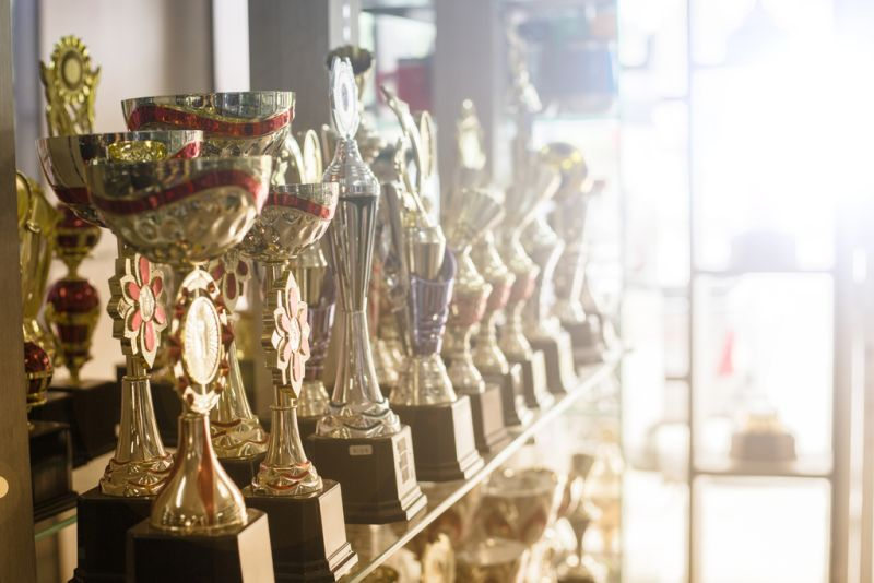 trophies on shelf