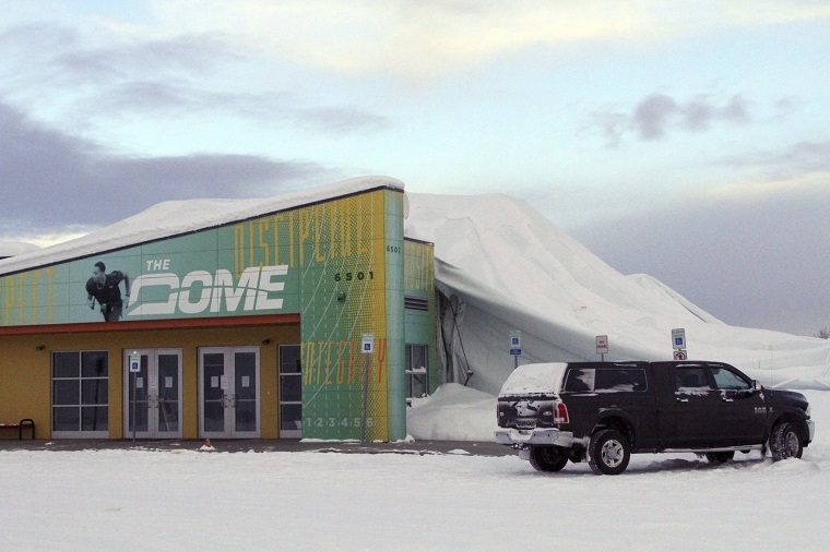 The Dome is an 180,000-square foot indoor sports facility in Anchorage, Alaska, where the roof collapsed earlier this year under the weight of accumulated snow. (AP Photo/Mark Thiessen)