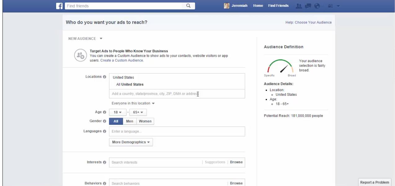 Facebook ad target tool