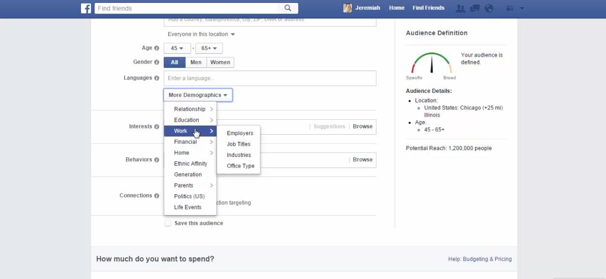 Facebook target by work