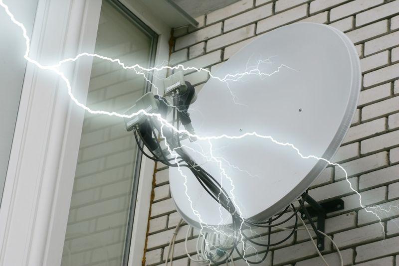 Lightning striking a home's satellite dish