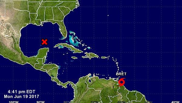 Two potential systems are gathering strength at either end of the Caribbean Sea at a time of year when multiple storms are unusual. (Image: Natioal Hurricane Center)